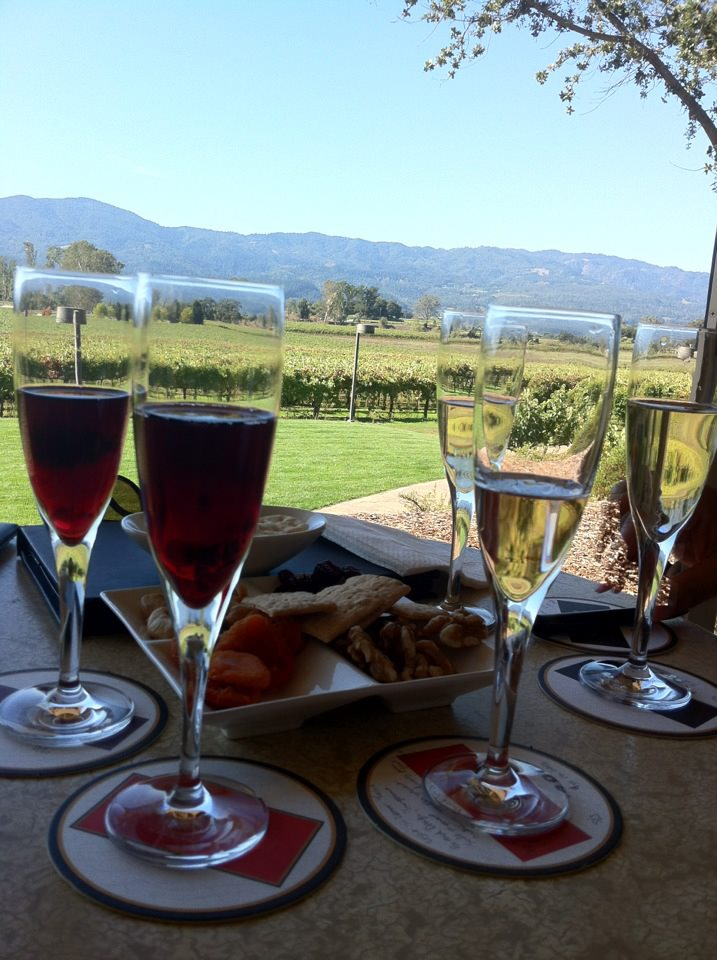 Flight of Mumm White and Red Sparklers Overlooking Their Beautiful Vineyards