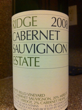 2008 Ridge Cabernet Sauvignon Estate