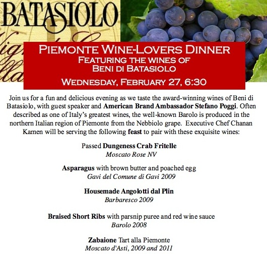 Piemonte winemakers dinner