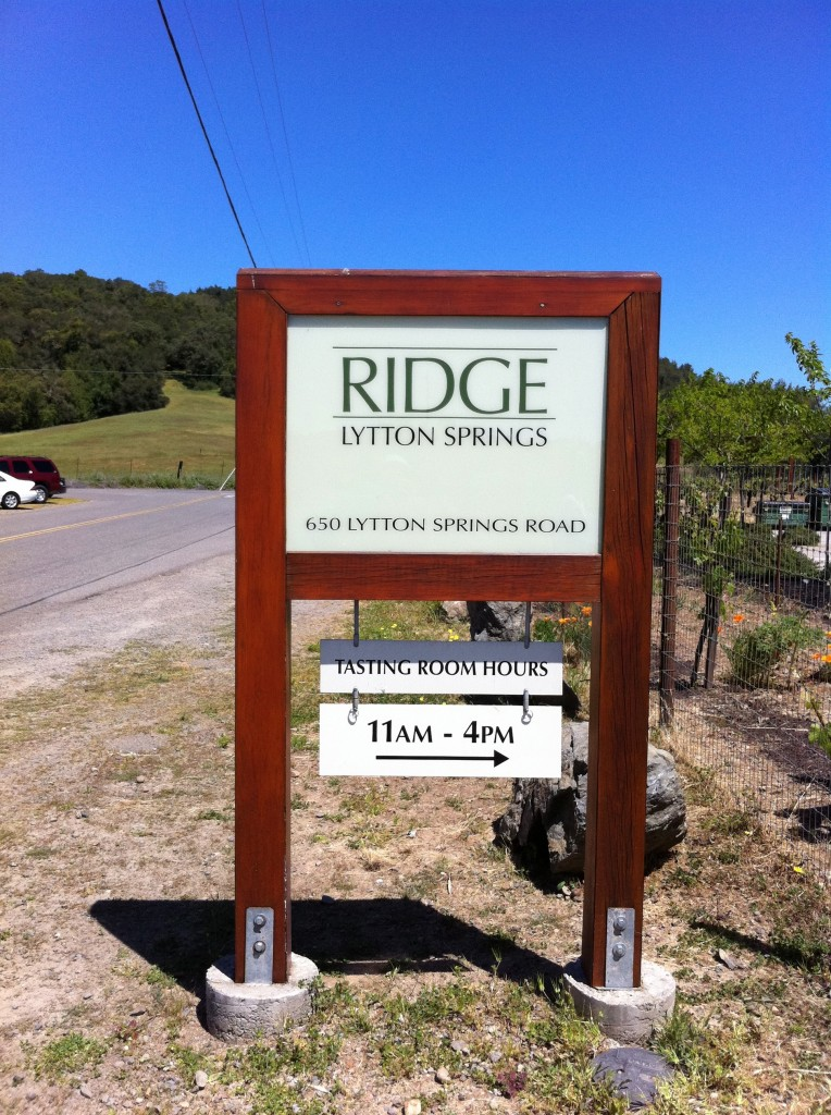 Ridge Lytton Springs Sign