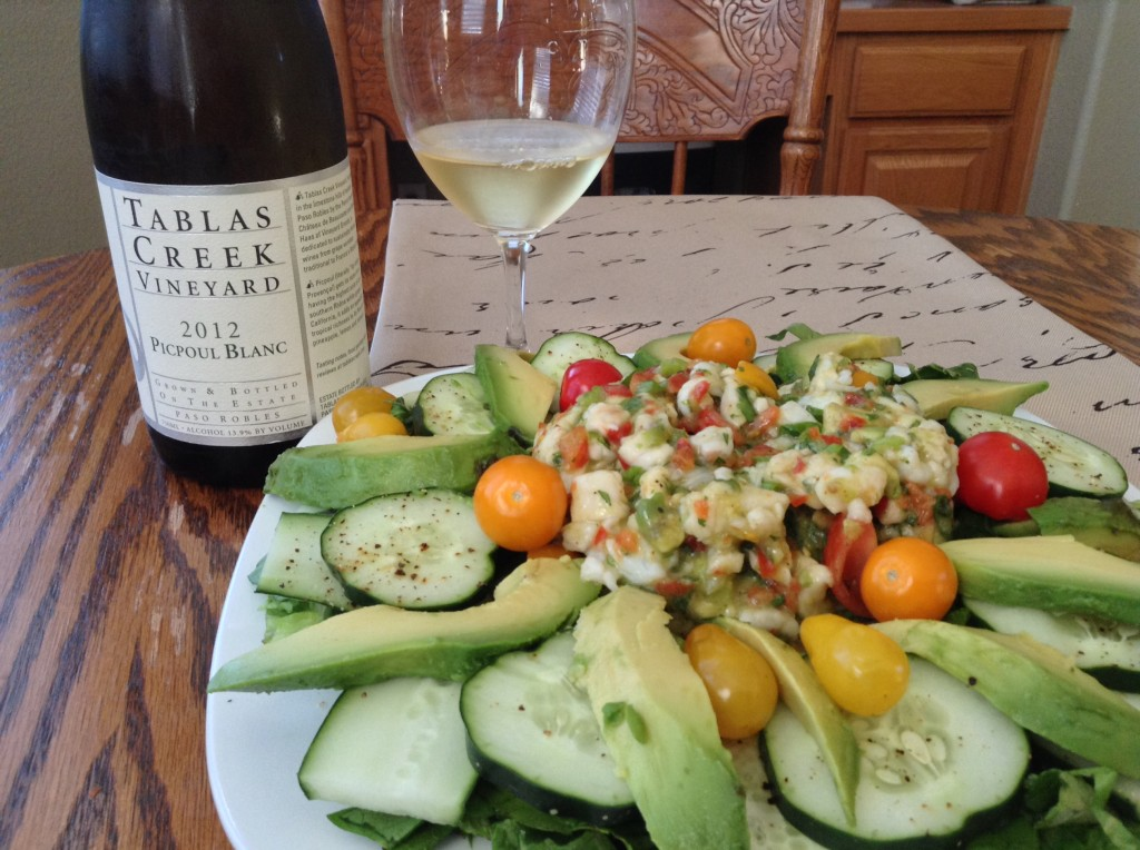 Ceviche and Tablas Creek Picpoul Blanc