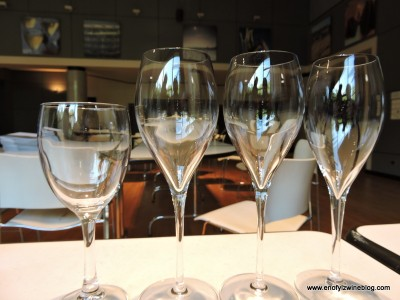 Notice the absence of traditional Champagne flutes? The glasses on the right will replace flutes, as flutes replaced coupes!