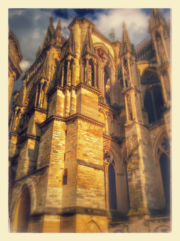 A filtered photo of the beautiful and historic Notre-Dame of Reims Cathedral