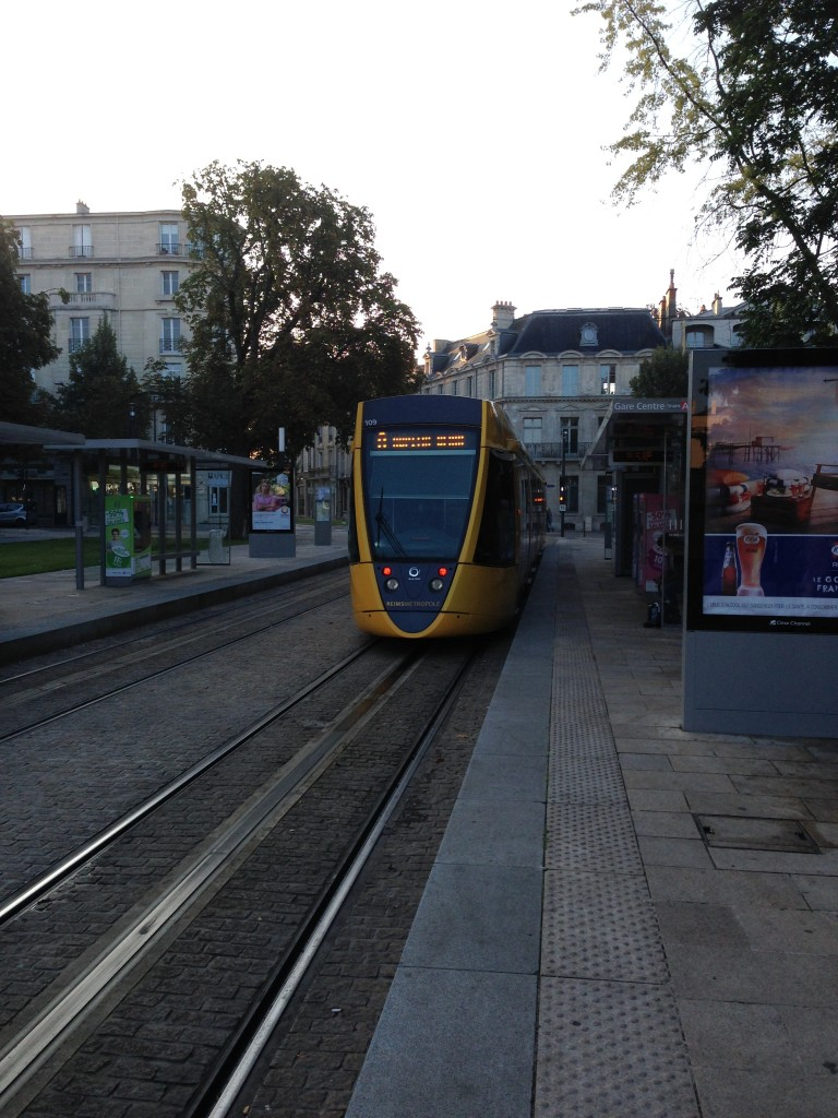 Notice how the facade of the light rail trains in Reims is shaped like a flute?