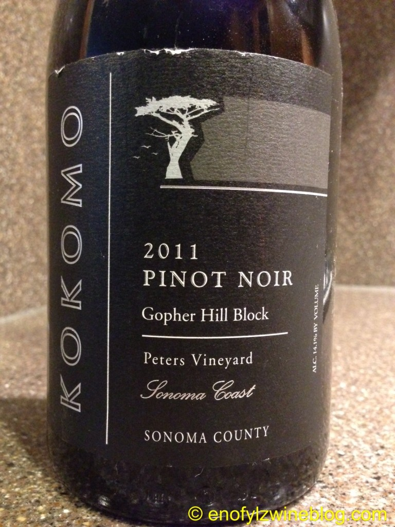Wine of the Week; 2011 Kokomo Pinot Noir Gopher Hill Block Peters Vineyard