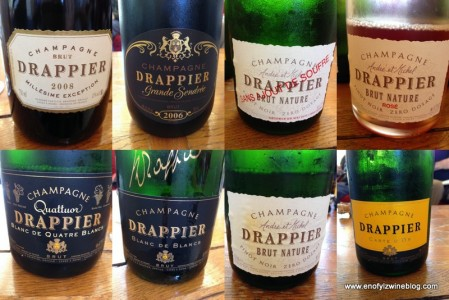 Such an amazing lineup of wines tasted at Drappier. In Aube, Pinot Noir is the dominant grape in Champagne