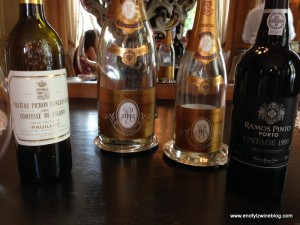 May be hard to see in the thumbnail, but is a photo f the wines were enjoyed at lunch L-R; 2006 Château Pichon Longueville Comtesse de Lalande, 2002 Louis Roederer Cristal Brut (magnum), 1993 Louis Roederer Cristal Brut, 1995 Ramos Pinto Porto Vintage