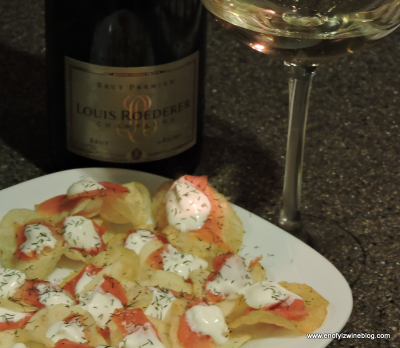 Smoked Salmon and Potato Chip Appetizer with Louis Roederer Champagne for #winePW