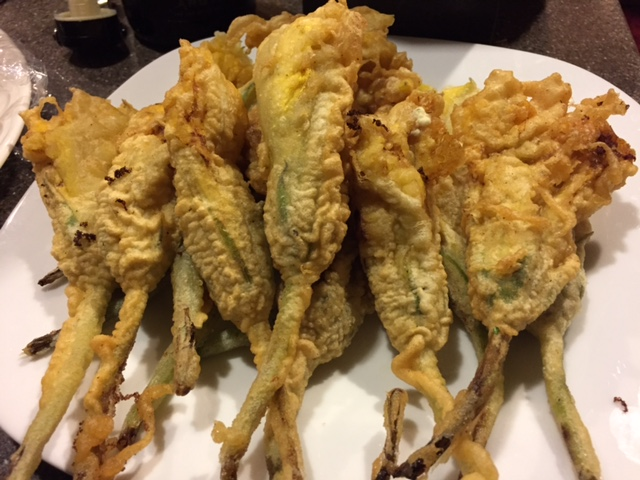 Deep fried squash blossom filled with goat cheese